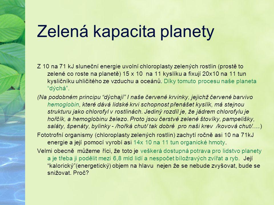 Zelená kapacita planety Z 10 na 71 kJ sluneční energie uvolní chloroplasty zelených rostlin (prostě to zelené co roste na planetě) 15 x 10 na 11 kyslí