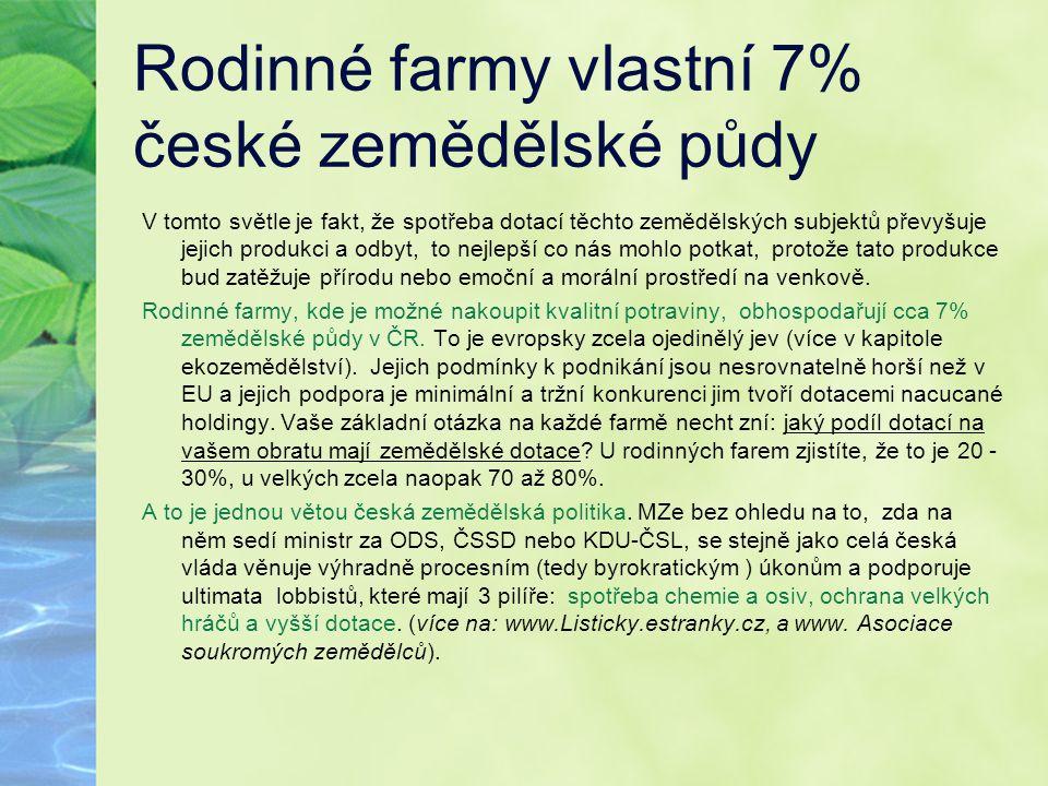 Rodinné farmy vlastní 7% české zemědělské půdy V tomto světle je fakt, že spotřeba dotací těchto zemědělských subjektů převyšuje jejich produkci a odb