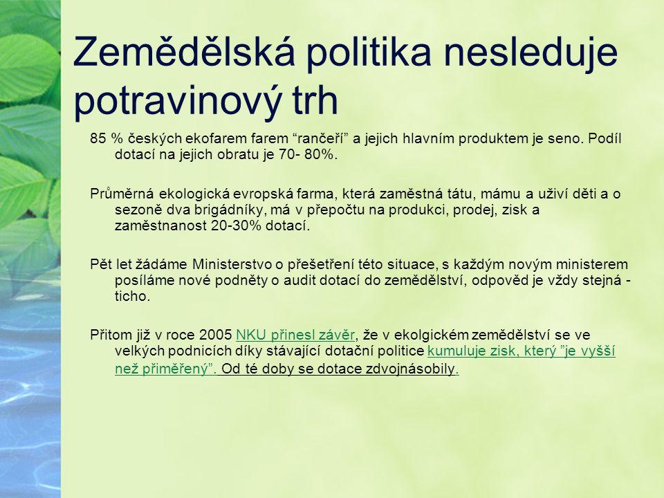 """Zemědělská politika nesleduje potravinový trh 85 % českých ekofarem farem """"rančeří"""" a jejich hlavním produktem je seno. Podíl dotací na jejich obratu"""