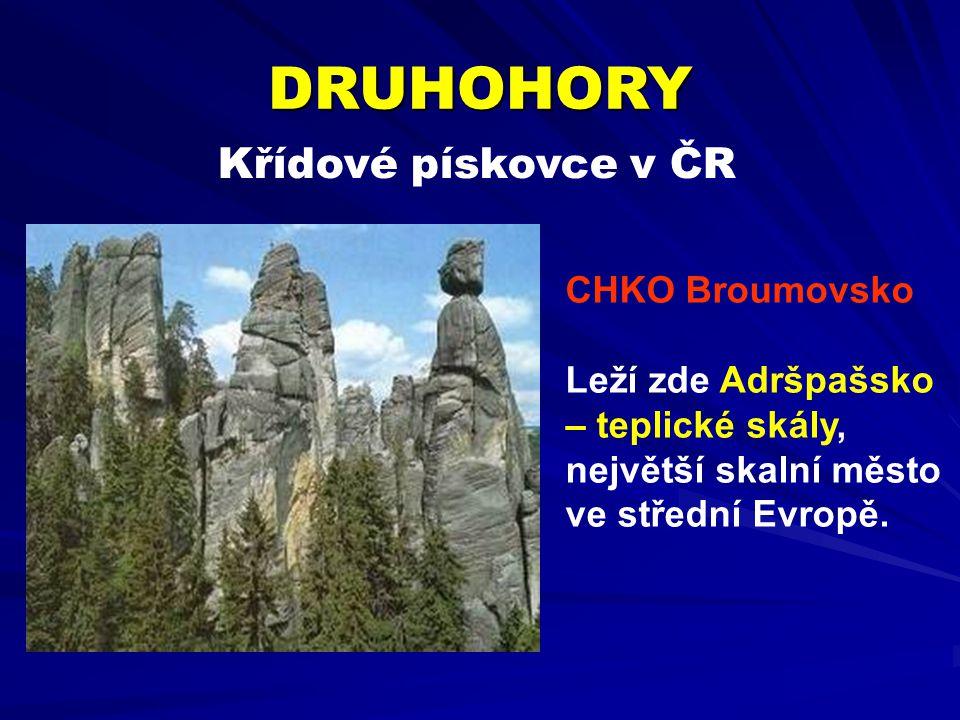 Křídové pískovce v ČR DRUHOHORY CHKO Broumovsko Leží zde Adršpašsko – teplické skály, největší skalní město ve střední Evropě.