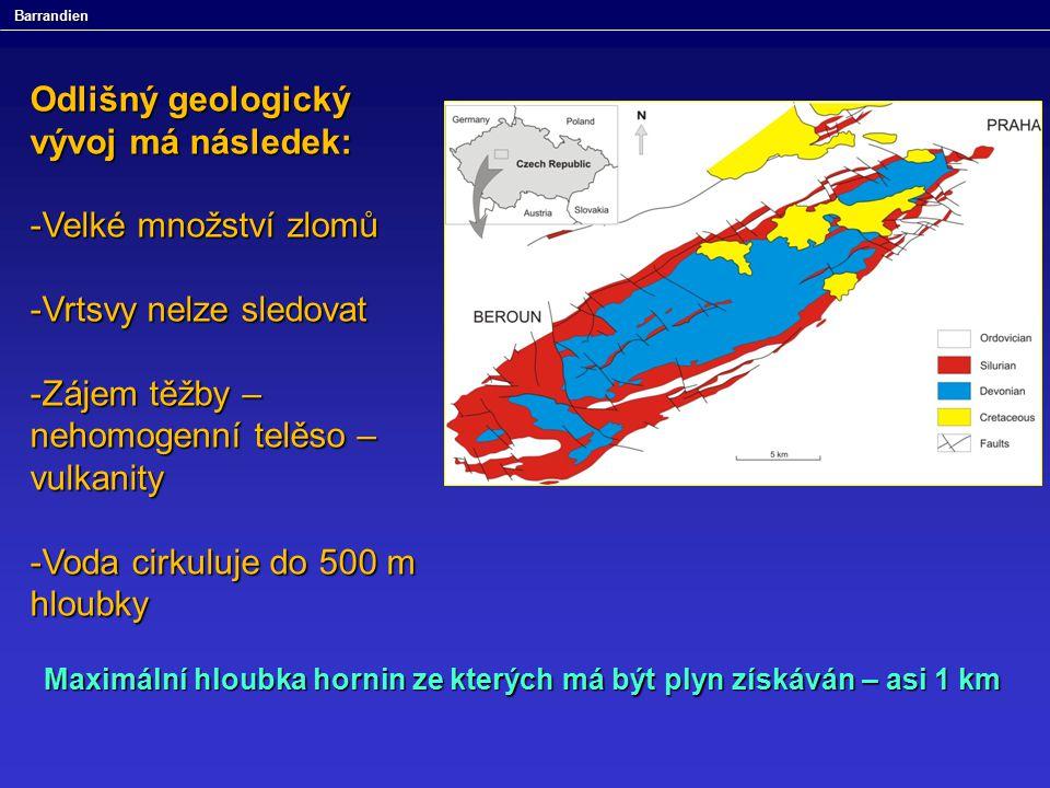 Barrandien Odlišný geologický vývoj má následek: -Velké množství zlomů -Vrtsvy nelze sledovat -Zájem těžby – nehomogenní telěso – vulkanity -Voda cirk
