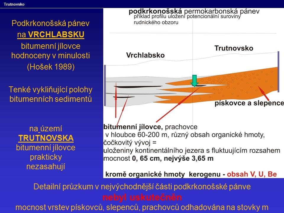 Podkrkonošská pánev na VRCHLABSKU bitumenní jílovce hodnoceny v minulosti (Hošek 1989) Tenké vykliňující polohy bitumenních sedimentů na území TRUTNOV