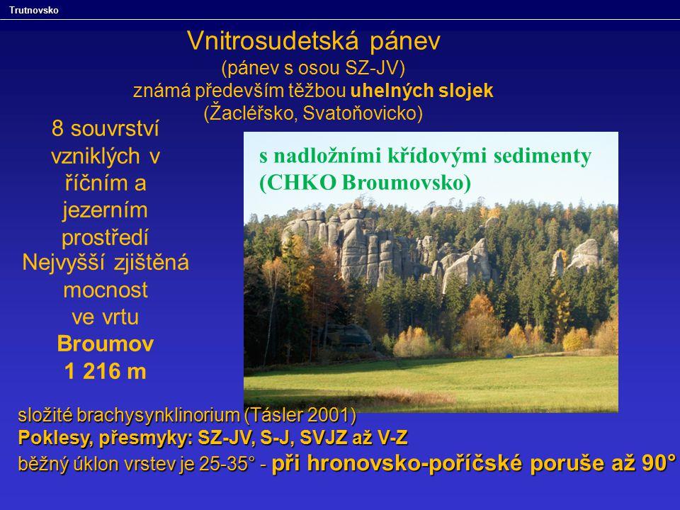 Vnitrosudetská pánev (pánev s osou SZ-JV) známá především těžbou uhelných slojek (Žacléřsko, Svatoňovicko) s nadložními křídovými sedimenty (CHKO Brou