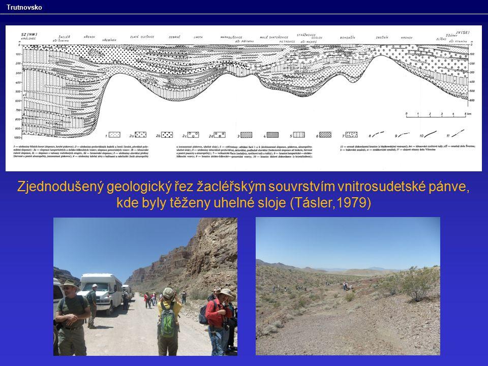 Zjednodušený geologický řez žacléřským souvrstvím vnitrosudetské pánve, kde byly těženy uhelné sloje (Tásler,1979) Trutnovsko