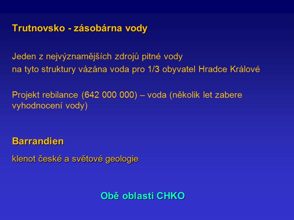 Trutnovsko - zásobárna vody Jeden z nejvýznamějších zdrojů pitné vody na tyto struktury vázána voda pro 1/3 obyvatel Hradce Králové Projekt rebilance