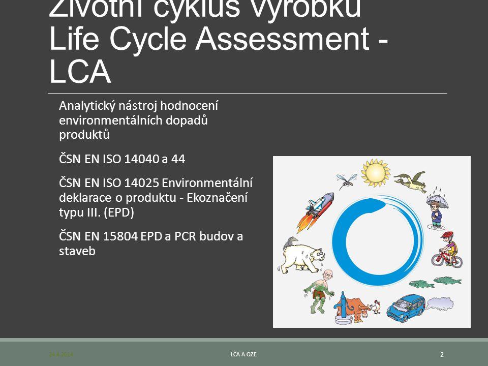 Životní cyklus výrobku Life Cycle Assessment - LCA Analytický nástroj hodnocení environmentálních dopadů produktů ČSN EN ISO 14040 a 44 ČSN EN ISO 140