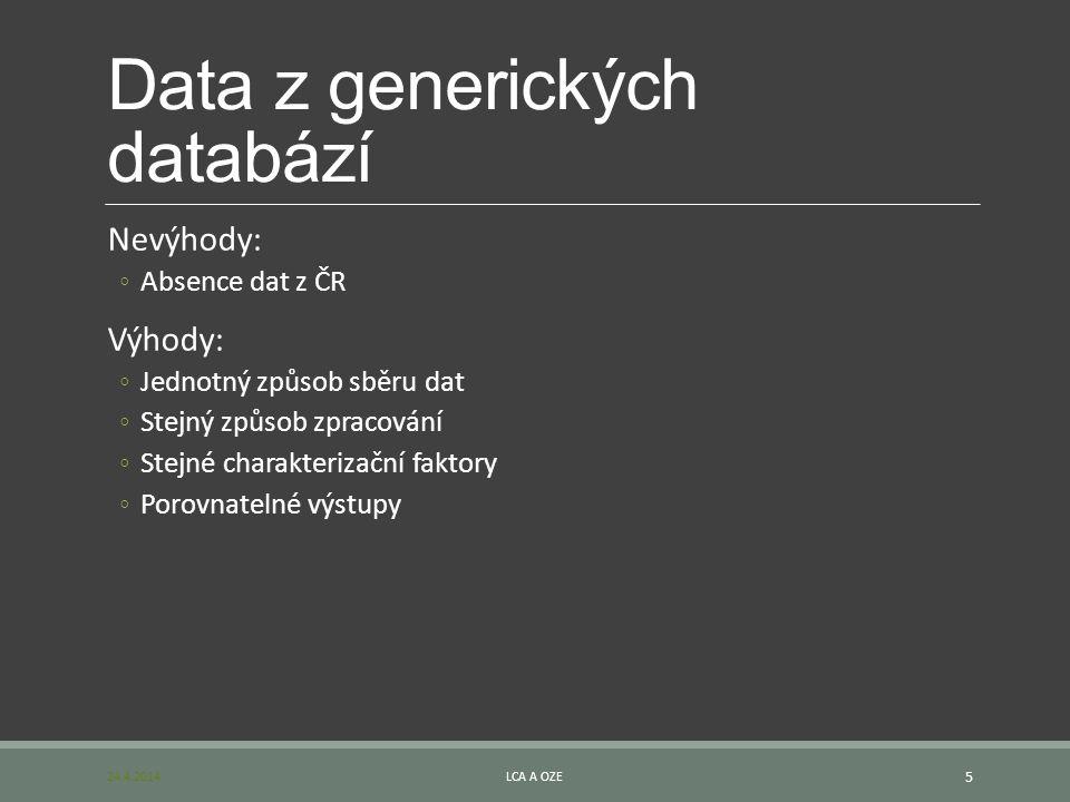 Data z generických databází Nevýhody: ◦Absence dat z ČR Výhody: ◦Jednotný způsob sběru dat ◦Stejný způsob zpracování ◦Stejné charakterizační faktory ◦