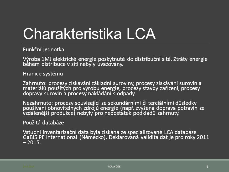 Charakteristika LCA Funkční jednotka Výroba 1MJ elektrické energie poskytnuté do distribuční sítě. Ztráty energie během distribuce v síti nebyly uvažo