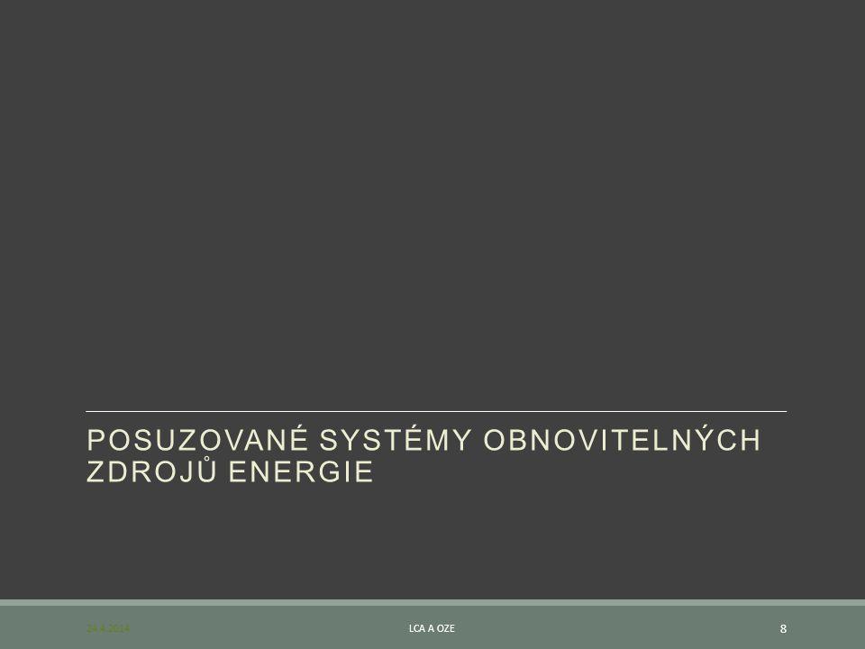 POSUZOVANÉ SYSTÉMY OBNOVITELNÝCH ZDROJŮ ENERGIE 24.4.2014LCA A OZE 8