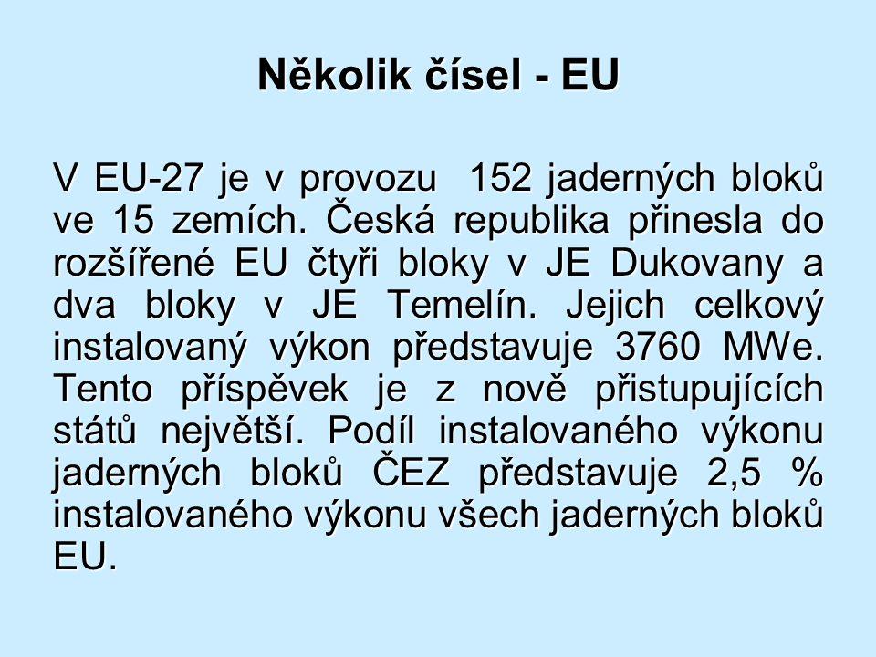 Několik čísel - EU V EU-27 je v provozu 152 jaderných bloků ve 15 zemích. Česká republika přinesla do rozšířené EU čtyři bloky v JE Dukovany a dva blo