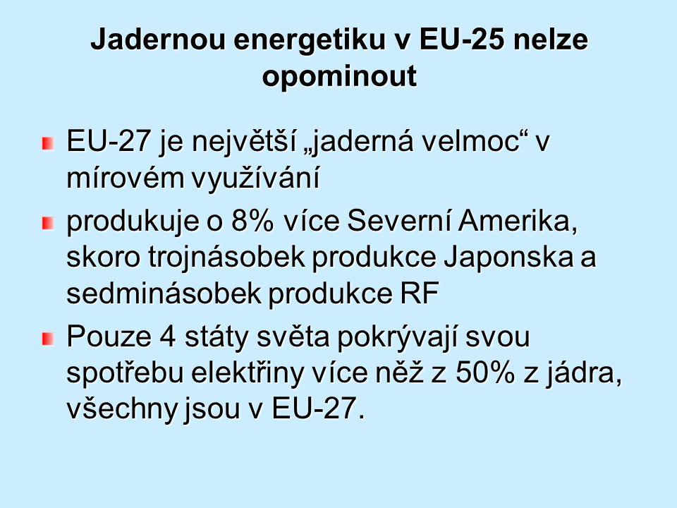 """Jadernou energetiku v EU-25 nelze opominout EU-27 je největší """"jaderná velmoc"""" v mírovém využívání produkuje o 8% více Severní Amerika, skoro trojnáso"""