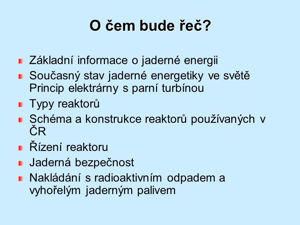 O čem bude řeč? Základní informace o jaderné energii Současný stav jaderné energetiky ve světě Princip elektrárny s parní turbínou Typy reaktorů Schém