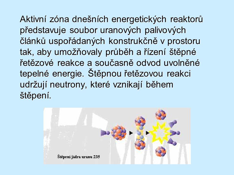 Aktivní zóna dnešních energetických reaktorů představuje soubor uranových palivových článků uspořádaných konstrukčně v prostoru tak, aby umožňovaly pr