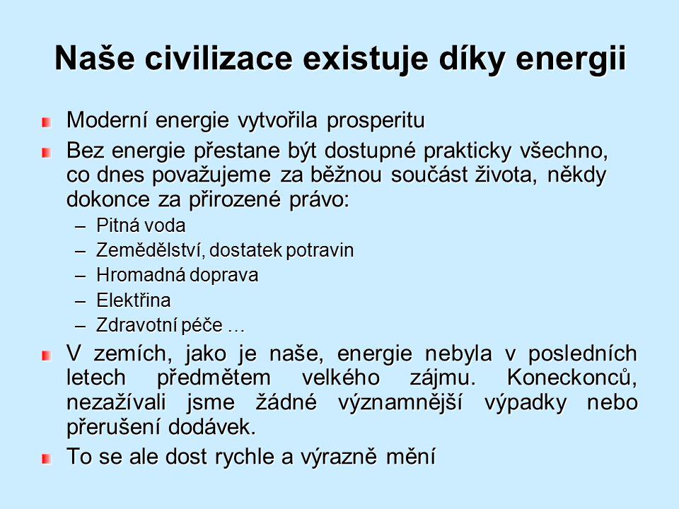 Naše civilizace existuje díky energii Moderní energie vytvořila prosperitu Bez energie přestane být dostupné prakticky všechno, co dnes považujeme za