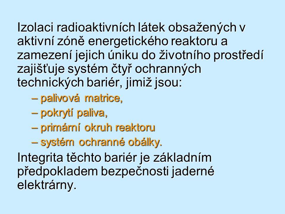 Izolaci radioaktivních látek obsažených v aktivní zóně energetického reaktoru a zamezení jejich úniku do životního prostředí zajišťuje systém čtyř och