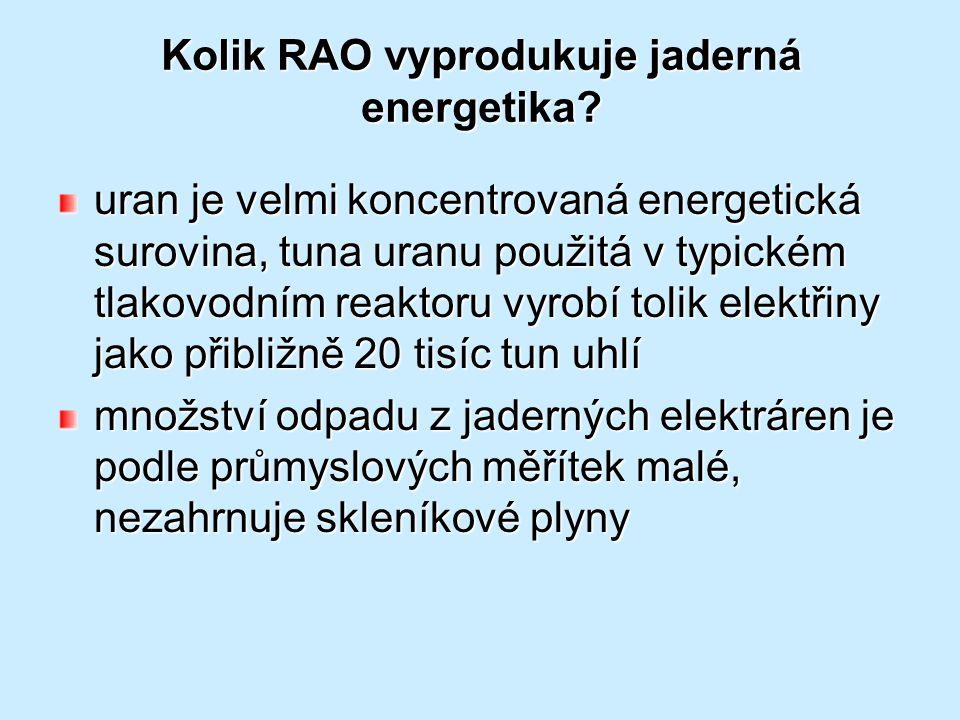 Kolik RAO vyprodukuje jaderná energetika? uran je velmi koncentrovaná energetická surovina, tuna uranu použitá v typickém tlakovodním reaktoru vyrobí