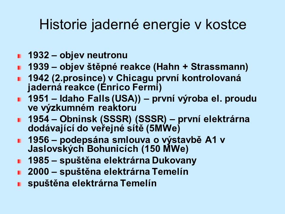 Historie jaderné energie v kostce 1932 – objev neutronu 1939 – objev štěpné reakce (Hahn + Strassmann) 1942 (2.prosince) v Chicagu první kontrolovaná
