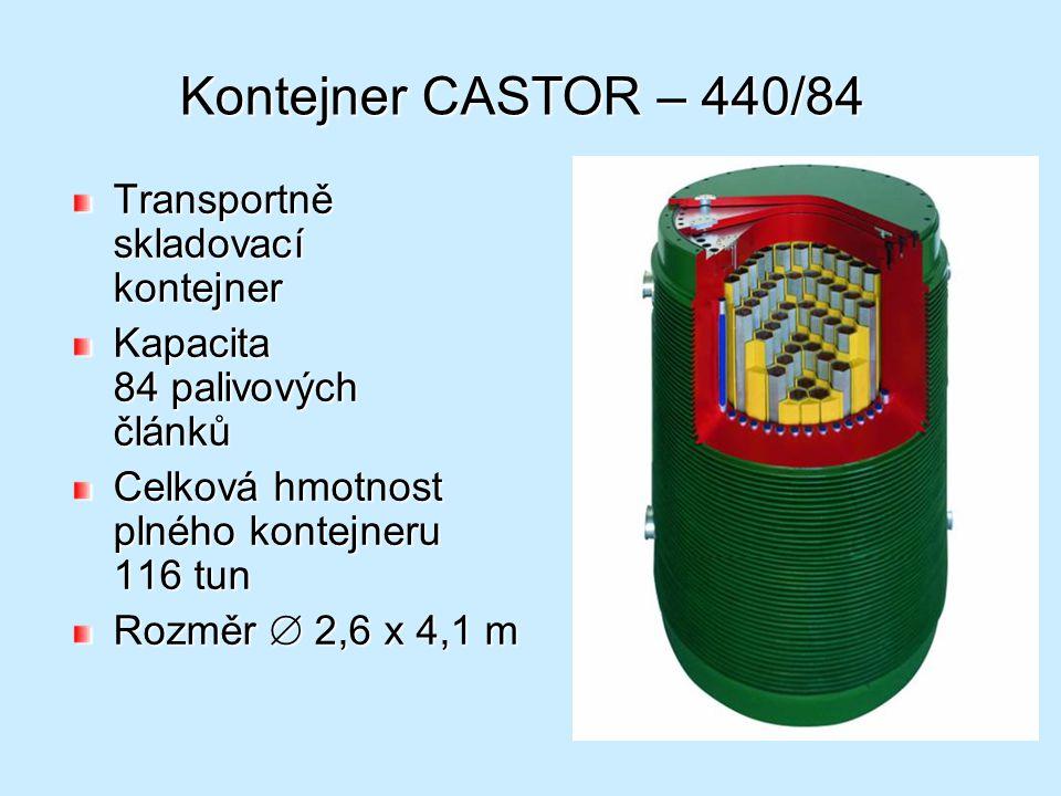 Kontejner CASTOR – 440/84 Transportně skladovací kontejner Kapacita 84 palivových článků Celková hmotnost plného kontejneru 116 tun Rozměr  2,6 x 4,1