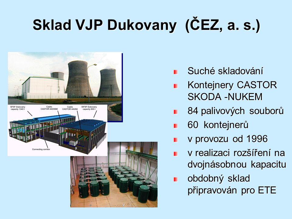 Sklad VJP Dukovany (ČEZ, a. s.) Suché skladování Kontejnery CASTOR SKODA -NUKEM 84 palivových souborů 60 kontejnerů v provozu od 1996 v realizaci rozš