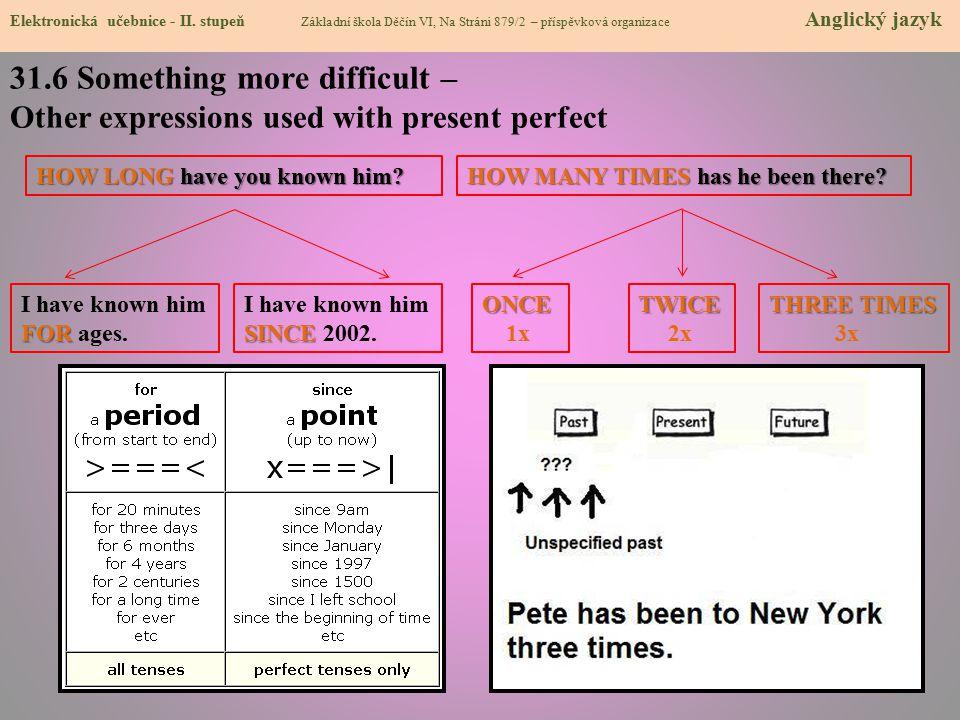 31.6 Something more difficult – Other expressions used with present perfect Elektronická učebnice - II. stupeň Základní škola Děčín VI, Na Stráni 879/