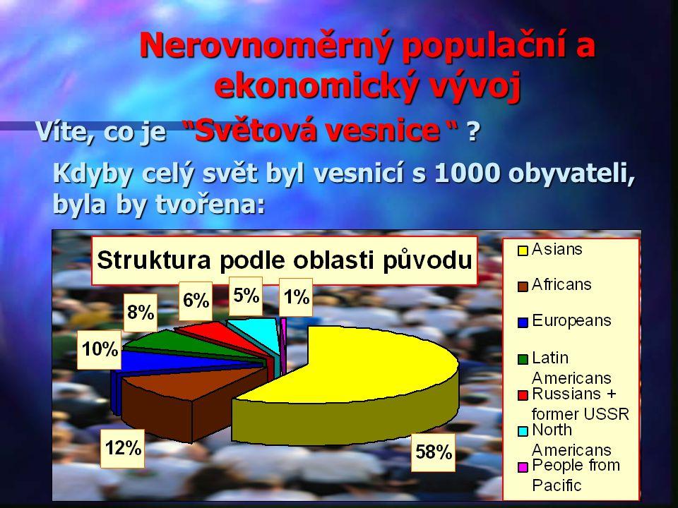Nerovnoměrný populační a ekonomický vývoj Víte, co je Světová vesnice .