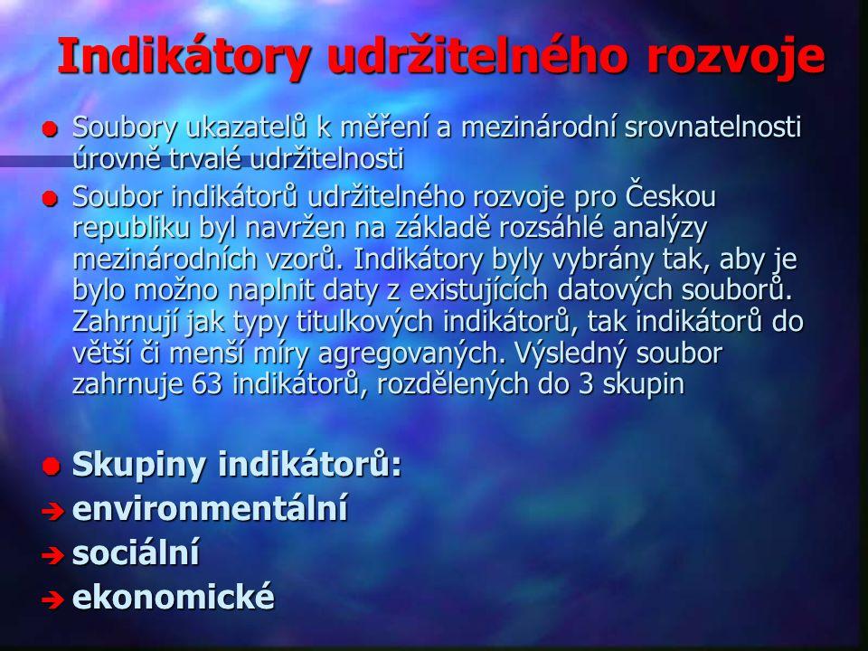 Indikátory udržitelného rozvoje  Soubory ukazatelů k měření a mezinárodní srovnatelnosti úrovně trvalé udržitelnosti  Soubor indikátorů udržitelného rozvoje pro Českou republiku byl navržen na základě rozsáhlé analýzy mezinárodních vzorů.