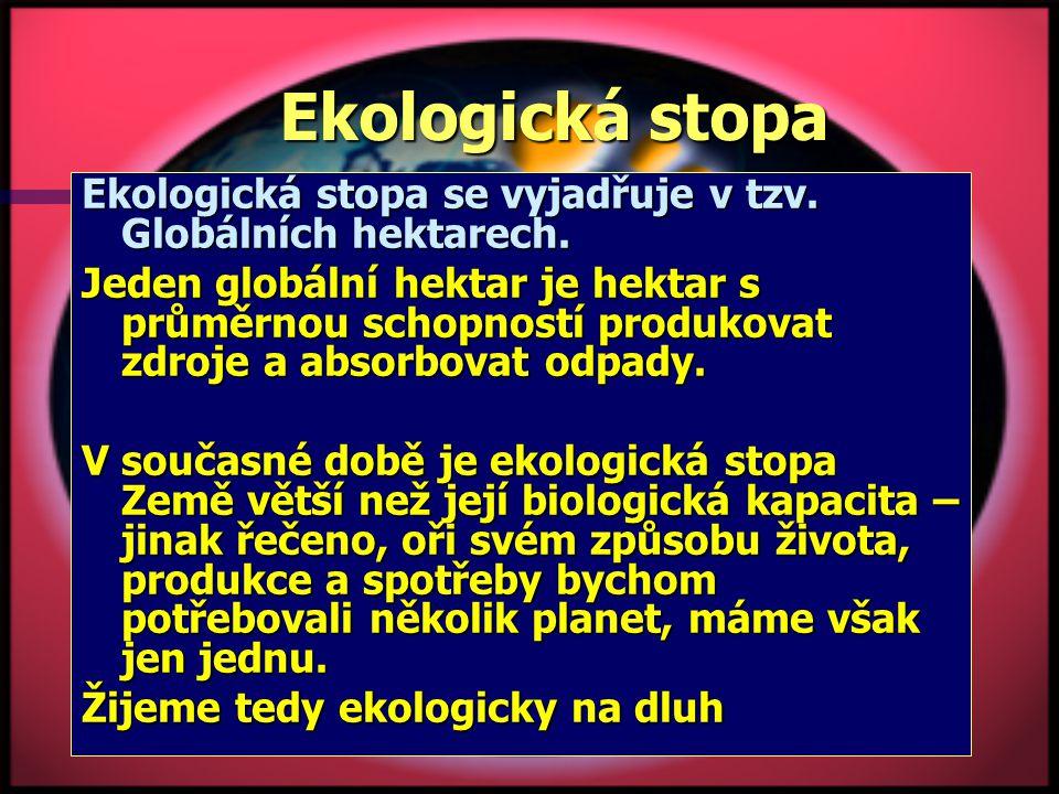 Ekologická stopa Ekologická stopa se vyjadřuje v tzv.