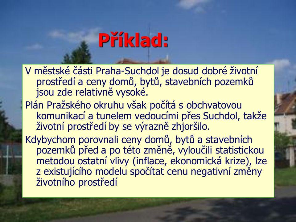 Příklad: V městské části Praha-Suchdol je dosud dobré životní prostředí a ceny domů, bytů, stavebních pozemků jsou zde relativně vysoké.