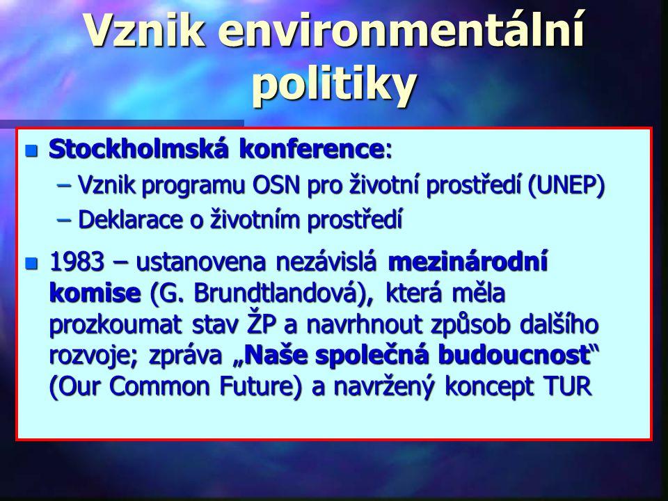 Nástroje národní ekologické politiky Základní principy využití nástrojů ekologické politiky kombinace pozitivní a negativní stimulace - tzv.