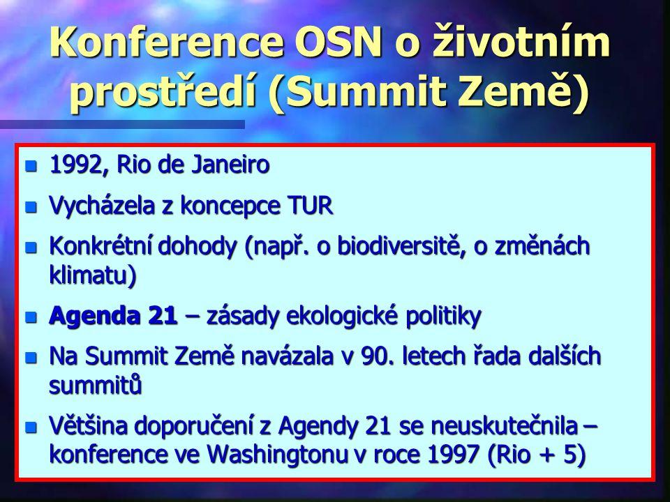 Kjótský protokol n Rámcová úmluva OSN o změně klimatu přijatá v červnu 1992 na Konferenci OSN o životním prostředí a rozvoji (UNCED – The United Nations Conference on Enviroment and Development) vytvořila předpoklady pro urychlenou stabilizaci koncentrací skleníkových plynů v atmosféře n Od roku 1995 se každoročně konají konference smluvních stran, které hodnotí a kontrolují způsob plnění tohoto dokumentu a ukládají státům další úkoly.