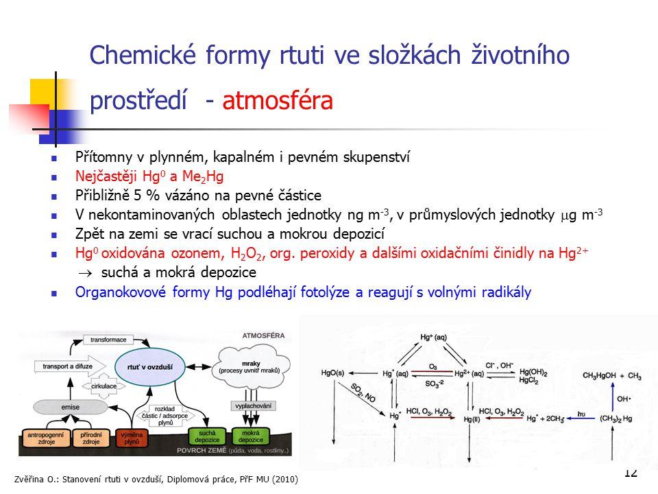 12 Chemické formy rtuti ve složkách životního prostředí - atmosféra Přítomny v plynném, kapalném i pevném skupenství Nejčastěji Hg 0 a Me 2 Hg Přibliž