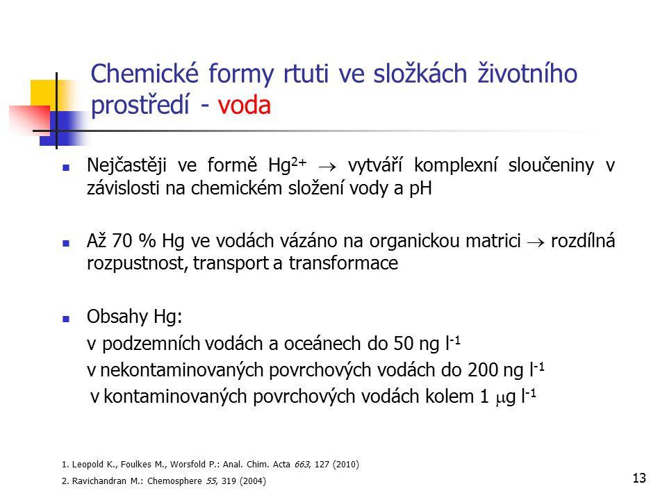 13 Chemické formy rtuti ve složkách životního prostředí - voda Nejčastěji ve formě Hg 2+  vytváří komplexní sloučeniny v závislosti na chemickém slož