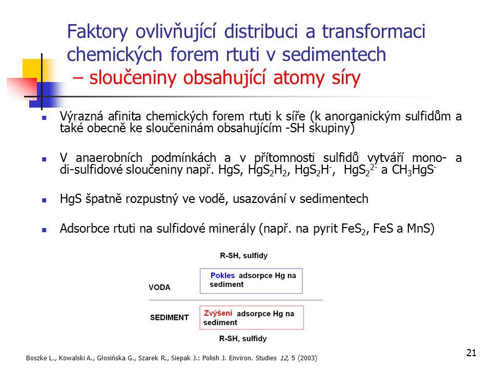 21 Faktory ovlivňující distribuci a transformaci chemických forem rtuti v sedimentech – sloučeniny obsahující atomy síry Výrazná afinita chemických fo