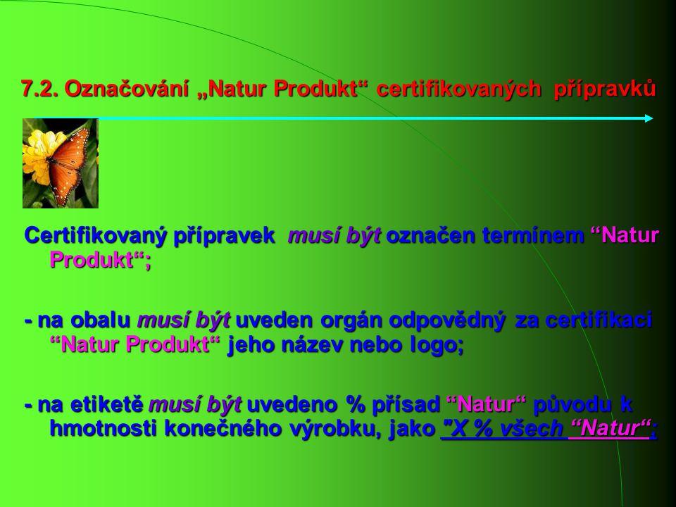 """7.2. Označování """"Natur Produkt"""" certifikovaných přípravků Certifikovaný přípravek musí být označen termínem """"Natur Produkt""""; - na obalu musí být uvede"""
