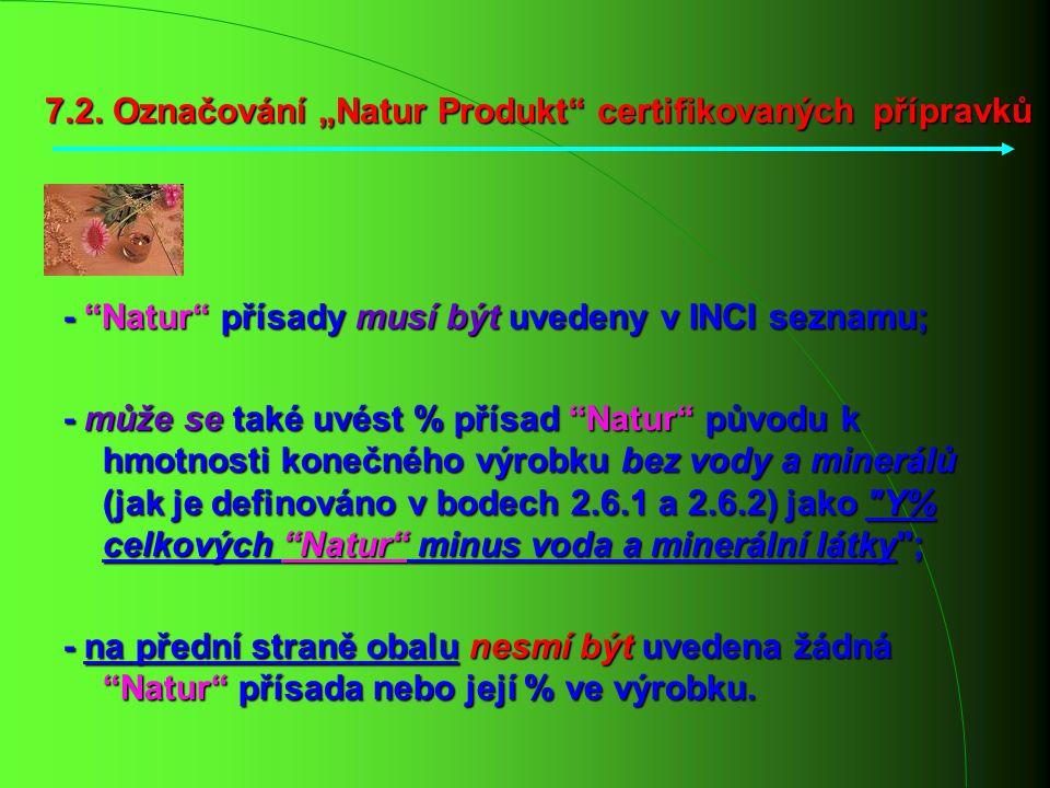 """7.2. Označování """"Natur Produkt"""" certifikovaných přípravků - """"Natur"""" přísady musí být uvedeny v INCI seznamu; - může se také uvést % přísad """"Natur"""" pův"""