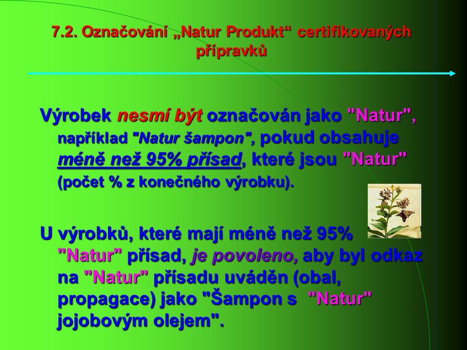 """7.2. Označování """"Natur Produkt"""" certifikovaných přípravků Výrobek nesmí být označován jako"""