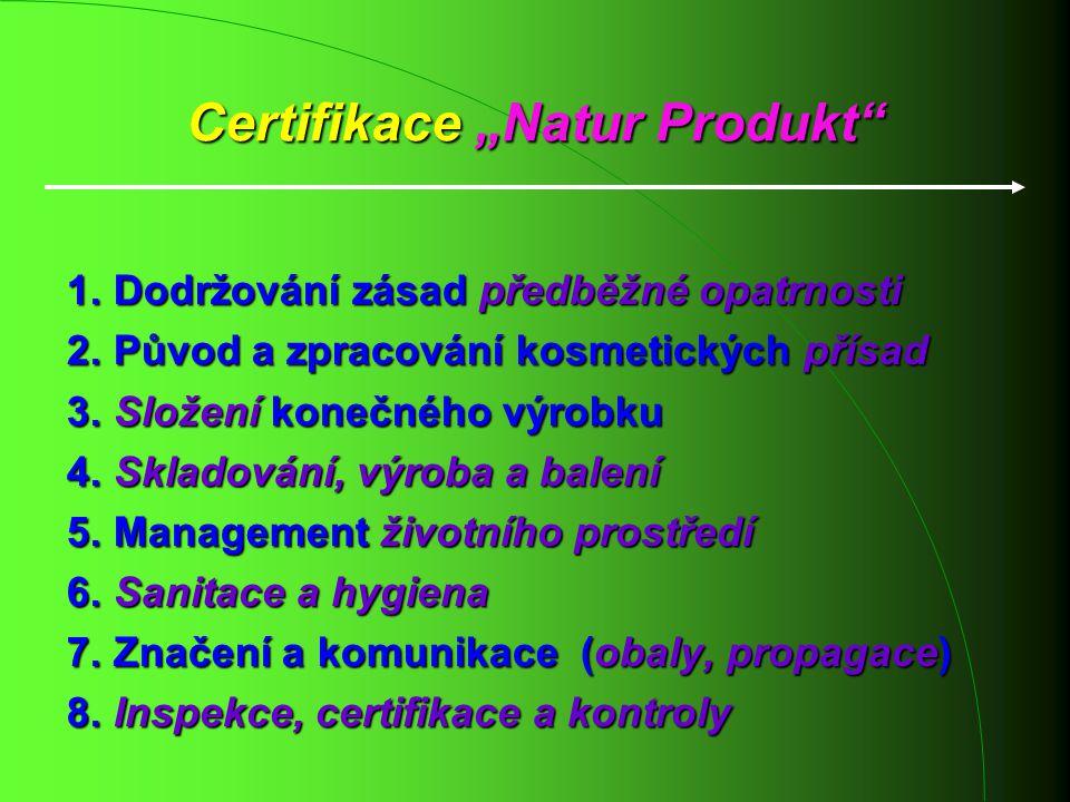 1. Dodržování zásad předběžné opatrnosti 2. Původ a zpracování kosmetických přísad 2. Původ a zpracování kosmetických přísad 3. Složení konečného výro