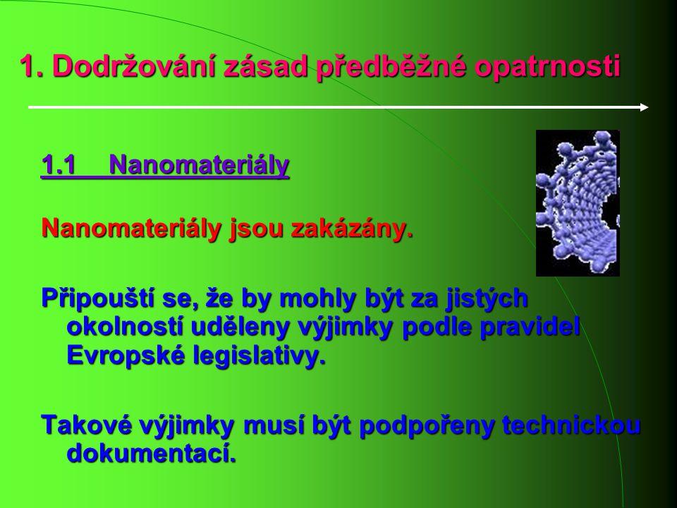 1. Dodržování zásad předběžné opatrnosti 1.1 Nanomateriály Nanomateriály jsou zakázány. Připouští se, že by mohly být za jistých okolností uděleny výj
