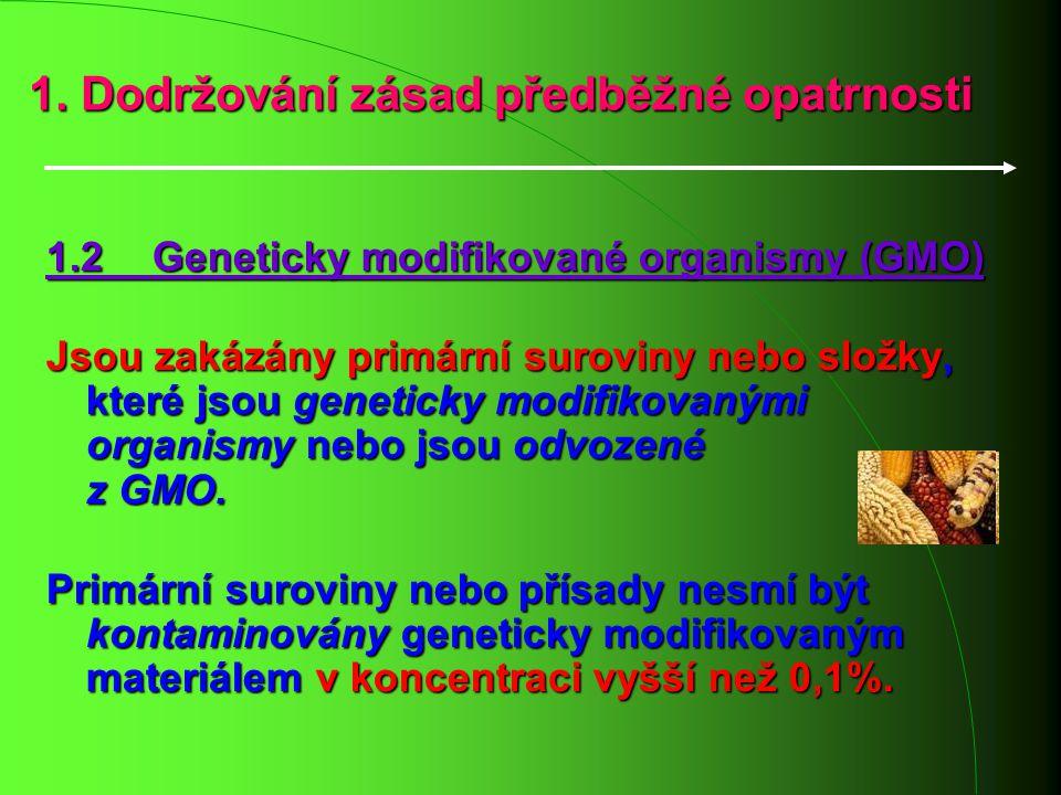 1. Dodržování zásad předběžné opatrnosti 1.2 Geneticky modifikované organismy (GMO) Jsou zakázány primární suroviny nebo složky, které jsou geneticky