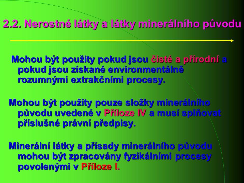 2.2. Nerostné látky a látky minerálního původu Mohou být použity pokud jsou čisté a přírodní a pokud jsou získané environmentálně rozumnými extrakčním
