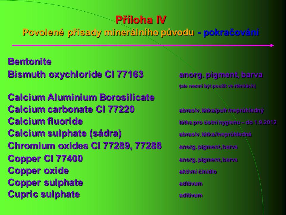 Příloha IV Povolené přísady minerálního původu - pokračování Bentonite Bismuth oxychloride CI 77163 anorg. pigment, barva (ale nesmí být použit ve rtě