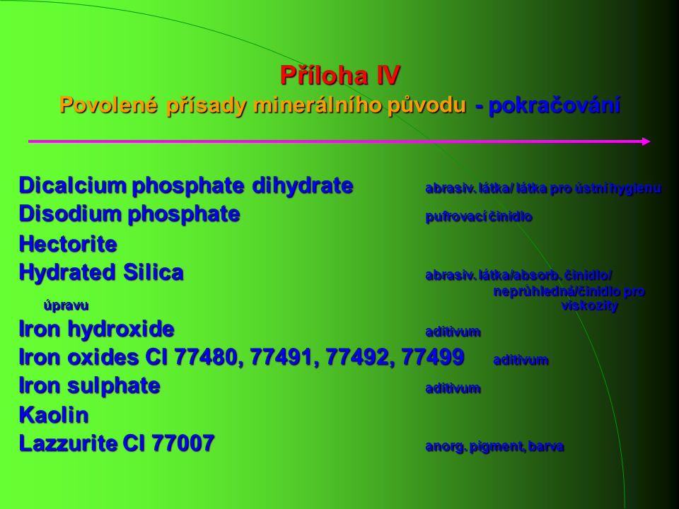 Příloha IV Povolené přísady minerálního původu - pokračování Dicalcium phosphate dihydrate abrasiv. látka/ látka pro ústní hygienu Disodium phosphate