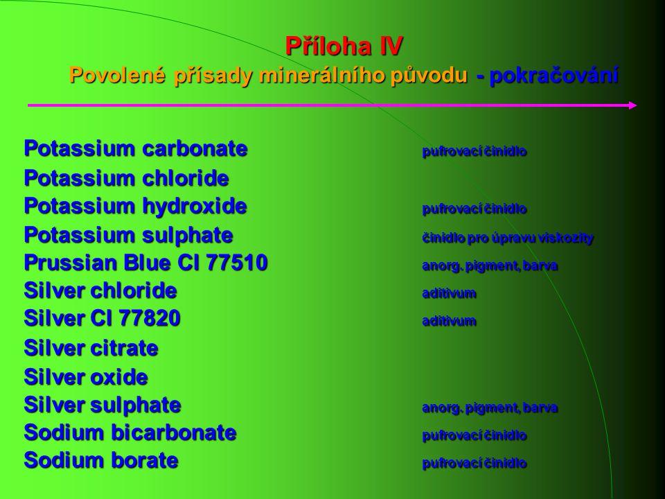 Příloha IV Povolené přísady minerálního původu - pokračování Potassium carbonate pufrovací činidlo Potassium chloride Potassium hydroxide pufrovací či