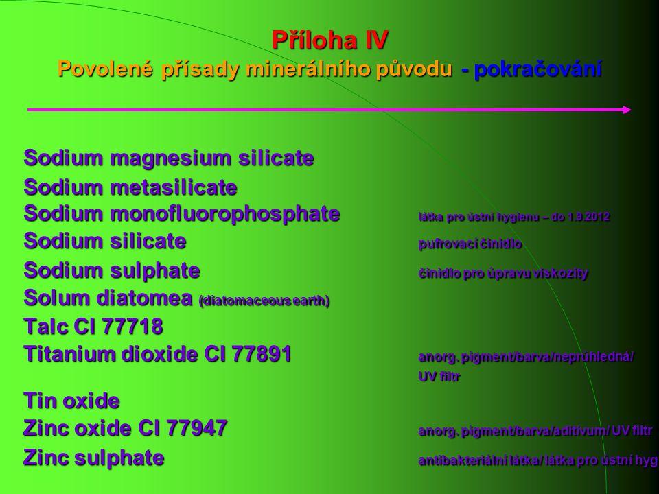 Příloha IV Povolené přísady minerálního původu - pokračování Sodium magnesium silicate Sodium metasilicate Sodium monofluorophosphate látka pro ústní