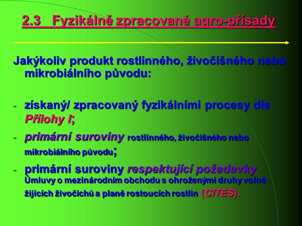 Jakýkoliv produkt rostlinného, živočišného nebo mikrobiálního původu: - získaný/ zpracovaný fyzikálními procesy dle Přílohy I ; - primární suroviny ro