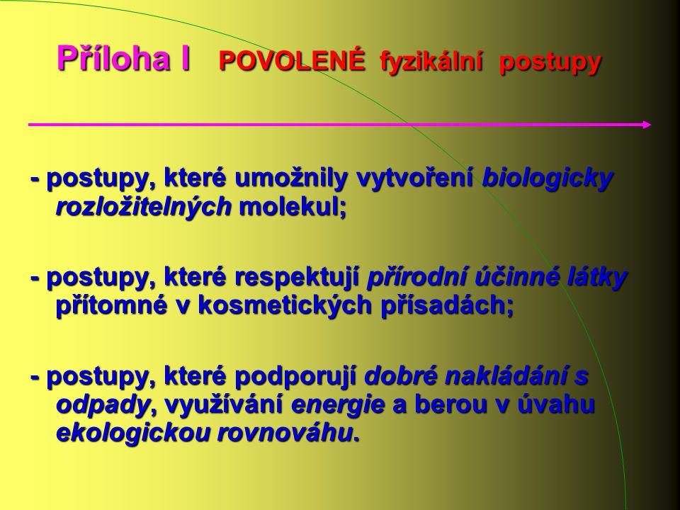 Příloha I POVOLENÉ fyzikální postupy - postupy, které umožnily vytvoření biologicky rozložitelných molekul; - postupy, které respektují přírodní účinn