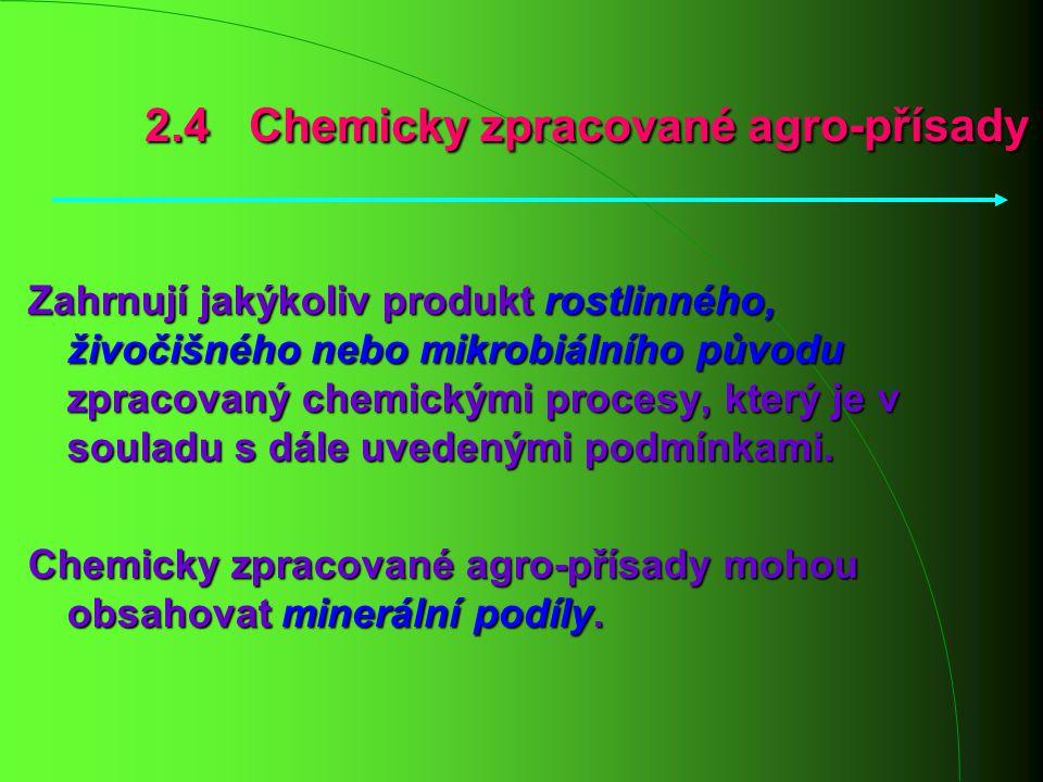 Zahrnují jakýkoliv produkt rostlinného, živočišného nebo mikrobiálního původu zpracovaný chemickými procesy, který je v souladu s dále uvedenými podmí