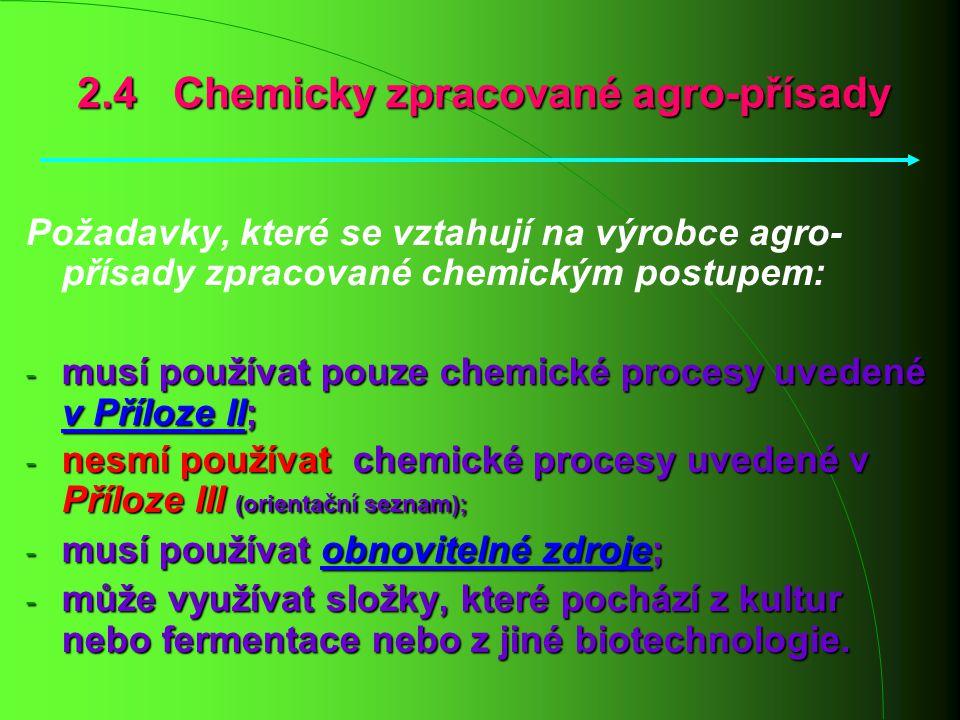 Požadavky, které se vztahují na výrobce agro- přísady zpracované chemickým postupem: - musí používat pouze chemické procesy uvedené v Příloze II; - ne