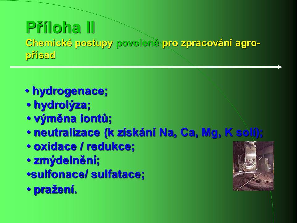 Příloha II Chemické postupy povolené pro zpracování agro- přísad hydrogenace; hydrolýza; výměna iontů; neutralizace (k získání Na, Ca, Mg, K solí); ox