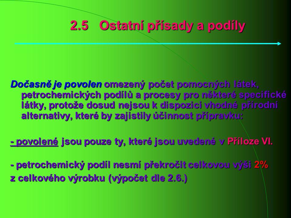 2.5 Ostatní přísady a podíly Dočasně je povolen omezený počet pomocných látek, petrochemických podílů a procesy pro některé specifické látky, protože